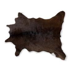 Natural Natural Calfskin Rug, 2'x3', Chocolate