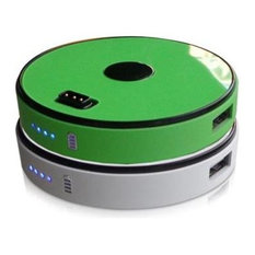 2-Disk Pack Sungale Round Stackable Power Bank, Lime Green/White