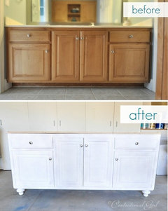 How to raise bathroom cabinets and counter top