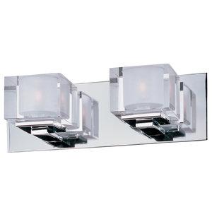 Cubic 2-Light Bath Vanity, Polished Chrome/Clear Glass