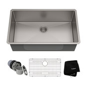 """Kraus 32"""" Undermount Kitchen Sink, Stainless Steel, Accessories"""