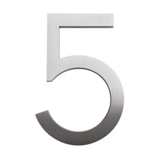 """moderndwellnumbers - Modern Font House Number, Brushed, 8"""", Number 5 - House Numbers"""