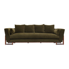 Large Sofa, Charcoal, Walnut Base, Taupe
