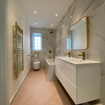 Pink and Gold family bathroom