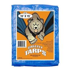 Grizzly Blue Multi Purpose 5 Mil 8x8 Weave Waterproof Poly Tarp, 15x15