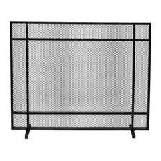 Markus Modern Single Panel Iron Fire Screen, Black Brushed Silver Finish