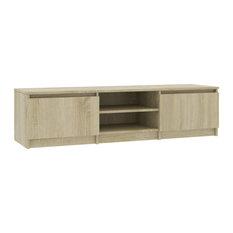 VidaXL TV Cabinet Sonoma Oak 55.1-inch Chipboard TV Stand  Entertainment Center