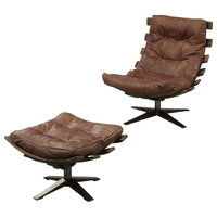 ACME Gandy 2 Pieces Pack Chair and Ottoman, Retro Brown Top Grain Leather
