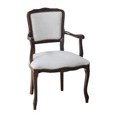 Eco-Leather White Wooden Armchair, White