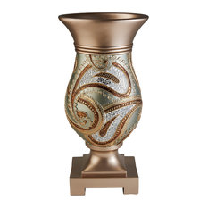 Elegant Golden Mosaic Decorative Vase