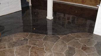 stamped stone pattern overlay / metallic epoxy combo