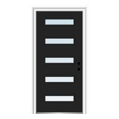 "36""x80"" 5-Lite Clear LH-Inswing Painted Fiberglass Front Door, 6-9/16"" Frame"