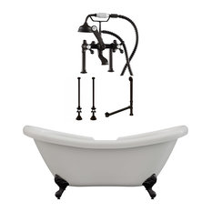"68"" Double Slipper Clawfoot Tub, Deck Mount Plumbing Package, Oil Rubbed Bronze"