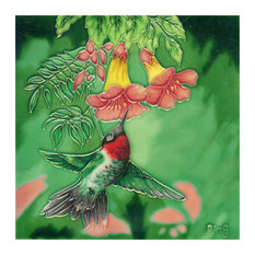 Hummingbird With 2 Small Flowers Tile