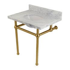 Fauceture Carrara Marble Bathroom Console Vanity With Acrylic Pedestal, Satin Br