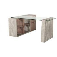Nova Domus Boston Modern Glass and Concrete Reversible Desk
