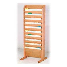 Wooden Mallet   Free Standing 10 Pocket Legal Size File Holder, Light Oak    Filing