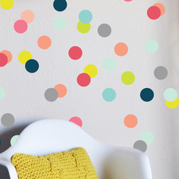 Vintage Modern Wall Decals Colorful Confetti Dots Wall Decal