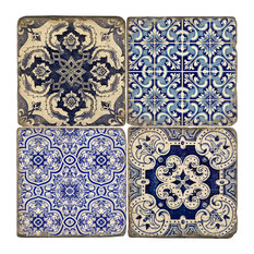 Studio Vertu - Azulejos Coasters, Set of 4, With stand - Coasters
