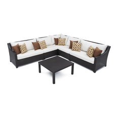 Deco 6-Piece Sectional and Table Set, Moroccan Cream