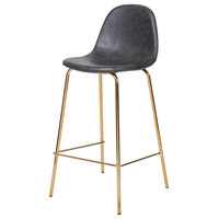 Smart Counter Stool, Distressed Gray Leather/Gold Frame