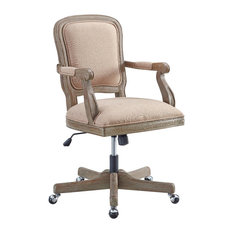 Linon Home Decor Products   Wood And Foam And Fabric Executive Chair,  Rustic Brown