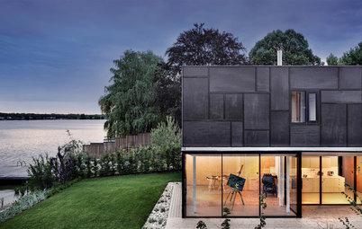 Houzz Австрия: Черный дом на озере — для трех семей