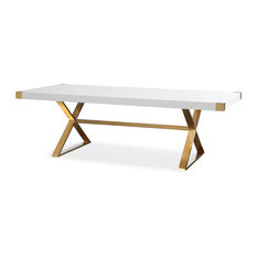 Adeline Dining Table - White, Gold