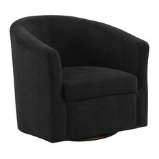 Accent Chair in Black Abstract Velvet