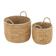"Set of 2 Tan Sea Grass Natural Storage Basket, 12"", 16"""