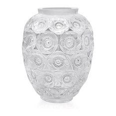 Lalique Anemones Grand Vase Clear and Black Enamelled