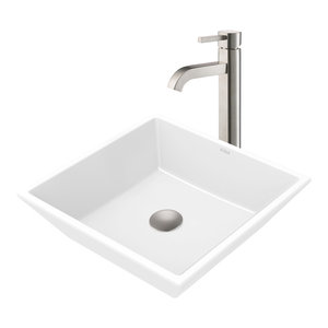 Ceramic Vessel Bathroom Sink and Vessel Faucet, Satin Nickel Finish