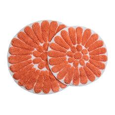 Chesapeake Merchandising, Inc - Bursting Flower 2-Piece Bath Rug Set, White and Coral - Bath Mats