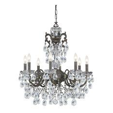 Crystorama Legacy 8-Light Clear Italian Crystal Bronze Chandelier