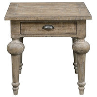 Pemberly Row Arranmore Gray End Table With Drawer and Plank Style Top