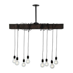 West Ninth Vintage Pendant Wood Beam Chandelier, Jacobean