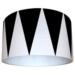 Patterned Lampshade, Circus Drum Monochrome, 30x25 cm