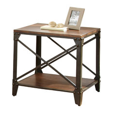 Steve Silver Company   Winston Crossed End Table, Distressed Tobacco   Side  Tables And End