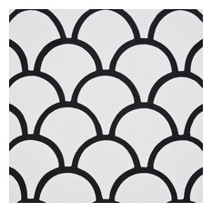 "8""x8"" Imouzar Handmade Cement Tile, White/Black, Set of 12"