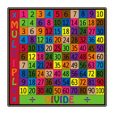 Flagship Carpet Children Learning Floor Playmat Nylon Multiply and Divide, 4'