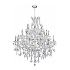 Maria Theresa 28 Light Large Chandelier In Polished Chrome With Clear Crystal