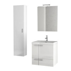 "23"" Glossy White Bathroom Vanity Set"