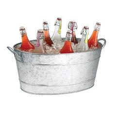 Spacious Galvanized Beverage Tub With Handles, Gray