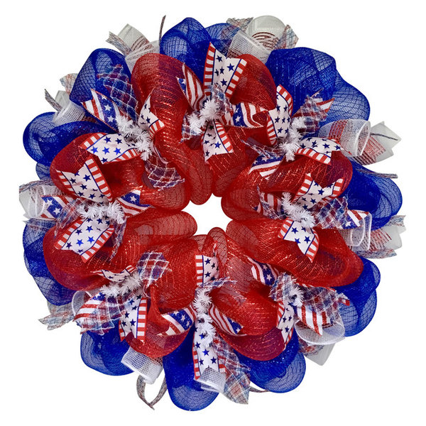 Three Cheers For The Red White & Blue Patriotic Ribbon Deco Mesh Wreat