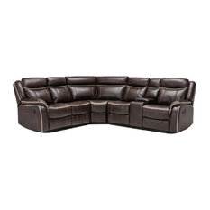 Classic Large Bonded Leather Reclining Corner Sectional Sofa, Brown