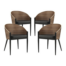 Modway Cooper Dining Chairs, Walnut, Set of 4