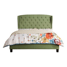 Nencia Upholstered Panel Bed, Olive Green, Queen