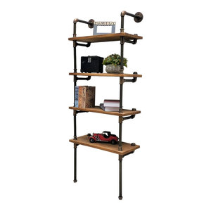 Sacramento Industrial Chic Etagere Bookcase Display, Rustic Bronze/Light Wood