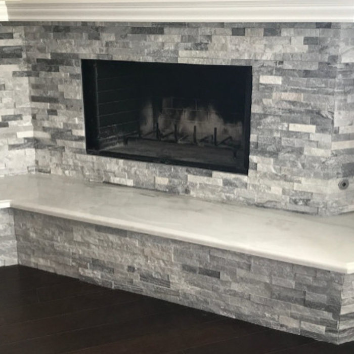 San Clemente Stack Stone Fireplace