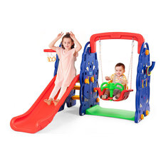 Costway 3 in 1 Junior Children Climber Slide Swing Seat Basketball Hoop Playset